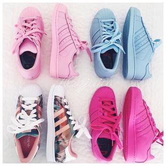shoes blue pink adidas fashion cute