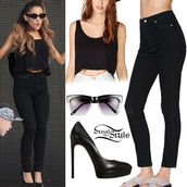 sunglasses,ariana grande,crop tops,nastygal,black,black pumps,nordstrom,forever 21,jeans,shirt,dress,jewels,earphones