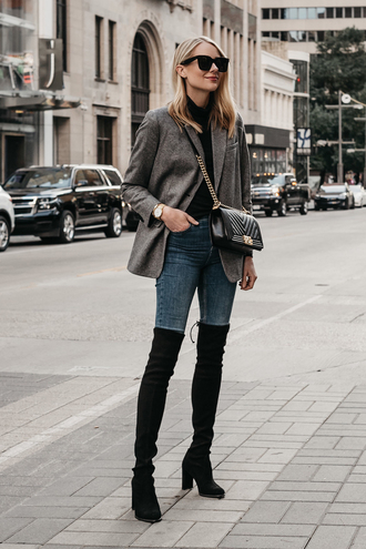 fashionjackson blogger shoes bag jewels jacket tumblr blazer grey blazer boots black boots over the knee boots over the knee denim jeans blue jeans top black top turtleneck sunglasses