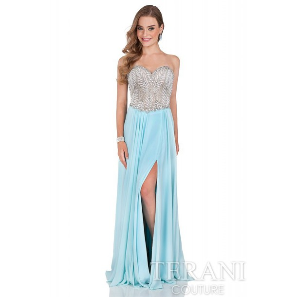 Dress Glamour Terani Couture Beaded Bodice Ballgown Evening Dress