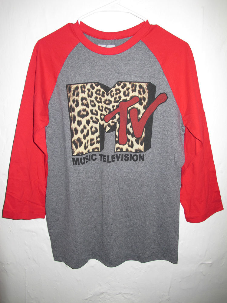 MTV Gray Red Cheetah Print Graphic T Shirt Size Medium M Men's New | eBay