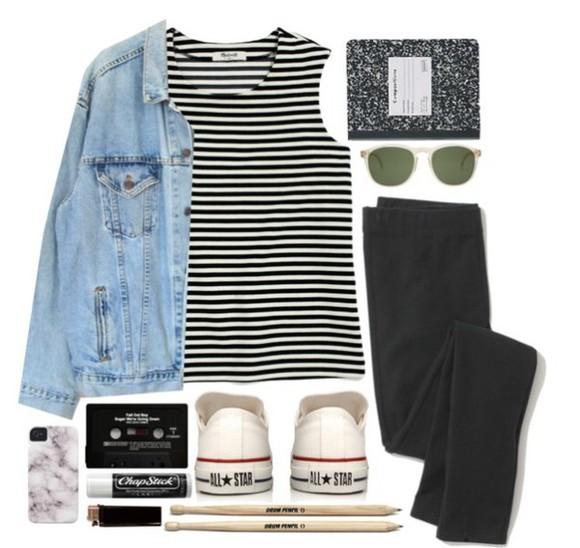 jacket denim jacket black and white tee stripe tee stripe top stripe shirt striped shirt striped top converse