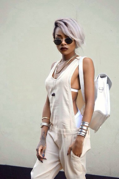 backless cute jumpsuit clothes beige girly tumblr tumblr outfit