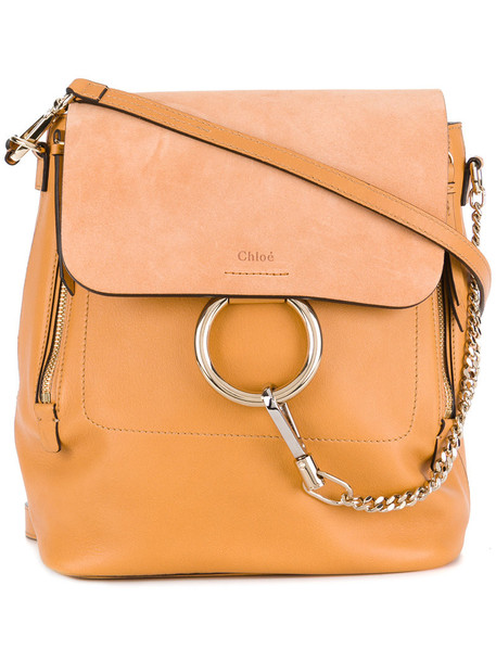 Chloe women backpack leather yellow orange bag