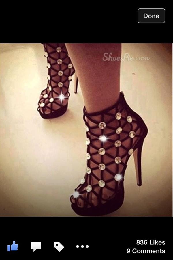 shoes black high heels lazer cut bling