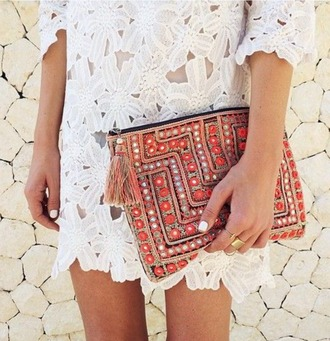bag orange yellow gold silver diamonds metallics zip gypsy boho boho chic hippie hippie chic bohemian tassle tassles clutch black white floral lace dress