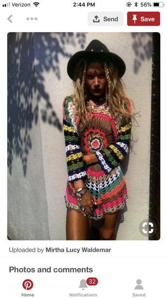 40eebe2a428 dress, rainbow, crochet, crochet dress, festival, hippie, boho ...