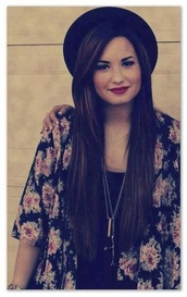 hat,demi lovato,jacket,coat,black,pink flowers,floral,cardigan