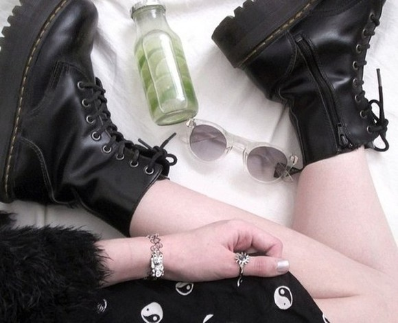 white sunglasses sunglasses clear round sunglasses see through hipster festival summer outfits dress combat boots