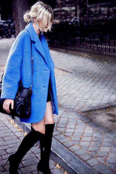 coat blue fluffy coat tumblr blue coat oversized bag black bag boots high heels boots black boots over the knee boots shoes
