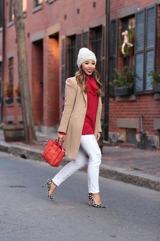 i am khatu blogger coat bag sweater shoes hat make-up