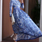 White and blue porcelain round neck long sleeve dress -shein(sheinside)