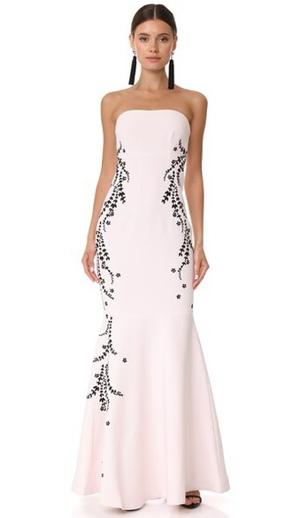 gown embroidered black pink dress