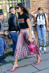 skirt,mules,streetstyle,midi skirt,colorful,pleated,milan fashion week 2017,top