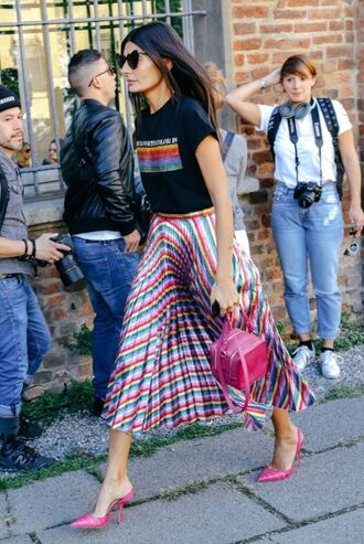 skirt mules streetstyle midi skirt colorful pleated milan fashion week 2017 top