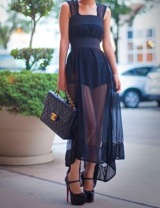 dress sheer black dress waist bag shoes clothes chanel inspired high heels