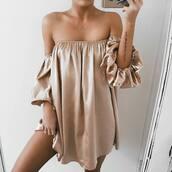 dress,tumblr,mini dress,nude dress,off the shoulder,off the shoulder dress,necklace,gold necklace,jewelry,crescent pendant,long sleeves,long sleeve dress,silk satin dress,silk dress,gold dress,satin gold dress,silk,silky,cold shoulder,gold