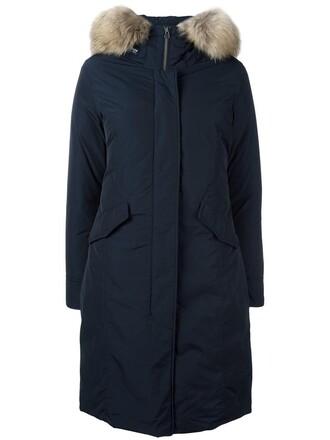 coat parka long fur women blue