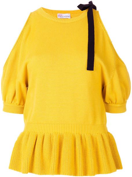 top women cold cotton knit yellow orange