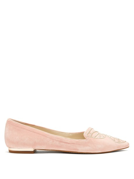 Sophia Webster butterfly flats suede gold pink shoes