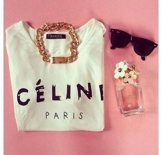 sweater jewels t-shirt cute oversized t-shirt white celine paris shirt celine celine paris tshirt celine paris t shirt jewelry gold sunglasses black spring outfits nail polish blouse top paris classy shirt vogue