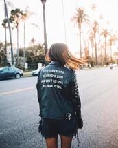 jacket,tumbr,black jacket,leather jacket,black leather jacket,shorts,denim,denim shorts,customized,quote on it,studs,studded jacket,studded
