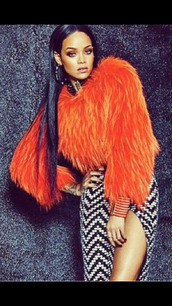 jacket,balmain,rihanna style,fur coat,orange,editorial,chevron,rihanna,slit skirt