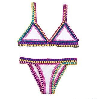 swimwear bikini bikini bottoms bikini top triangle bikini stitches colorful colorful swimwear matching swimsuit purple yellow pink blue white thick stitch