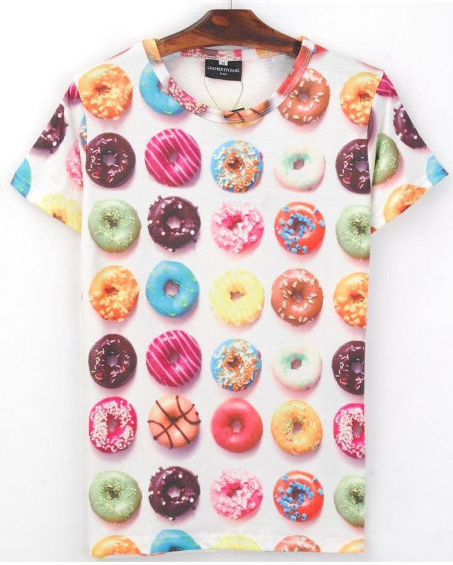 Donuts Biscuit Desserts Colorful Paint Women's Fuuny Cute Sexy Hot T shirt 4 siz