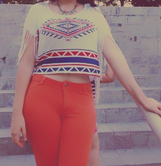 shirt white white crop tops crop tops aztec indie orange pants high waisted jeans