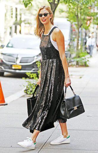 dress sequins sequin dress karlie kloss sneakers midi dress top purse