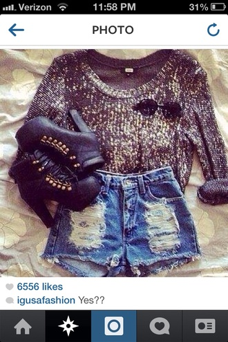 sweater sequin sweater grey sweater