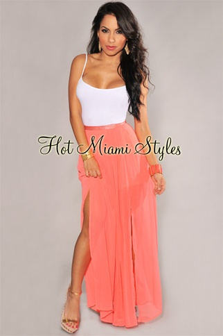 Coral Pleated Side Slit Maxi Skirt