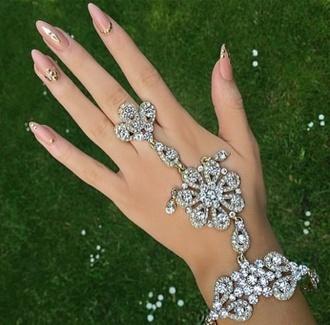 jewels slave bracelet rhinestones silver