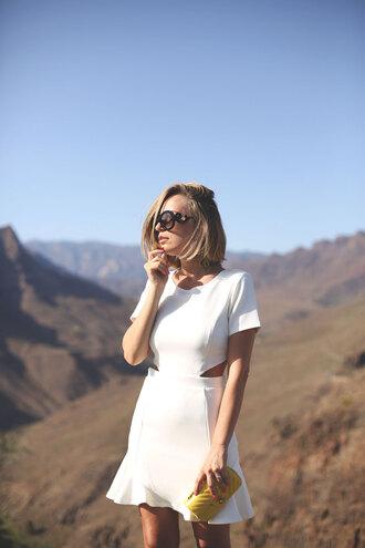 dress tumblr mini dress white dress short sleeve dress round sunglasses clutch