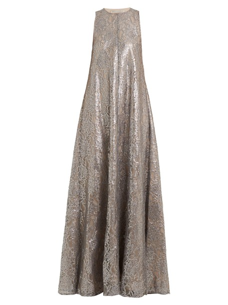 EMILIA WICKSTEAD gown sleeveless lace silver dress