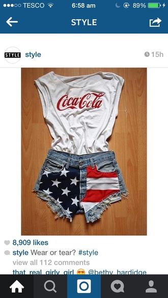 t-shirt coke a cola white t-shirt american flag shorts cool shorts