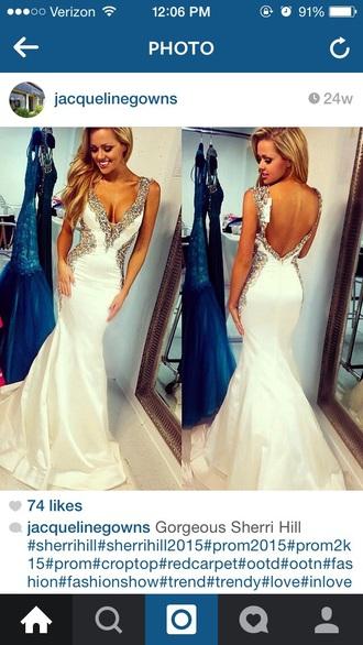 dress prom dress white dress beaded dress silver sequins