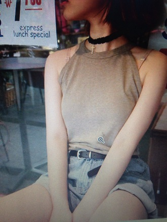 shirt halter top brown light pastel soft pale indie soft grunge grunge warm indie aesthetic indie boho jewels