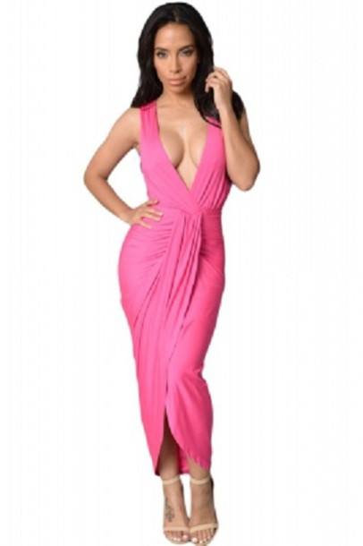 1aaf6391bc3ba8 dress maxi maxi dress front slit skirt plunge v neck pink pink dress party  dress sexy