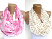 scarf,infinity scarf,eternity scarf,loop scarf,neon pink,ivory,cream,white,outfit,girly,women,trendy,gift ideas,for her,etsy,summer 2013,beach,scarves,fall outfits,holidays,scarve,two-piece