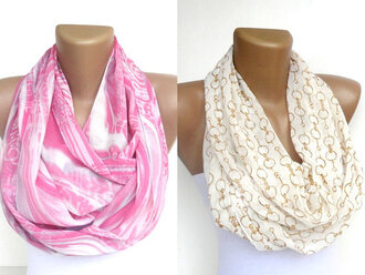 scarf infinity scarf eternity scarf loop scarf neon pink ivory cream white outfit girly women trendy gift ideas for her etsy summer 2013 beach scarves fall outfits holidays scarve two-piece