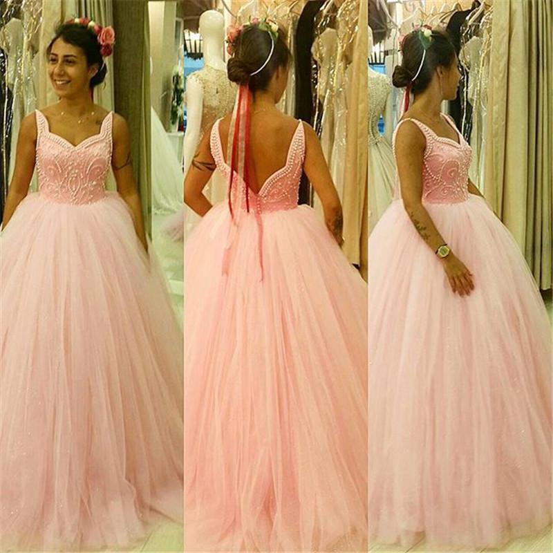 Pearls Ball Gown Prom Dresses 2016 Sweetheart Plus Size Tulle Skirt