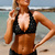 Black Halter Scalloped Hem Sexy Two Piece Bikini Swimsuit