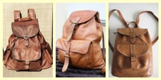 bag leather brown lovely cute vintage backpack leather backpack