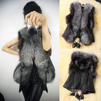 jacket faux fox faux fur vest faux leather leather vest vest fall outfits fall trend fall outwear fall winter winter outfits cute vest black vest black ootd
