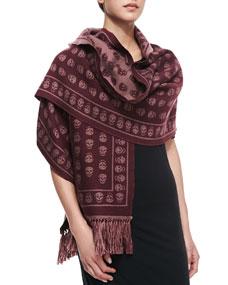 Down skull muffler scarf, lacquer/bordeaux