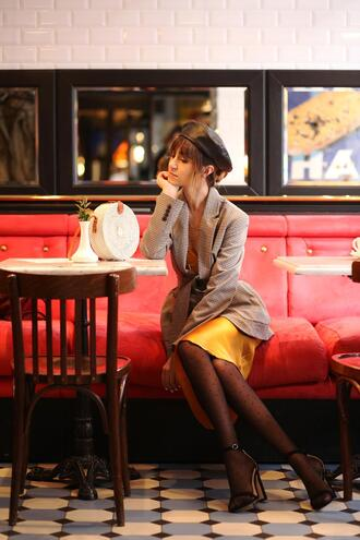 tina sizonova blogger jacket dress shoes bag round bag slip dress silk slip dress sandals beret