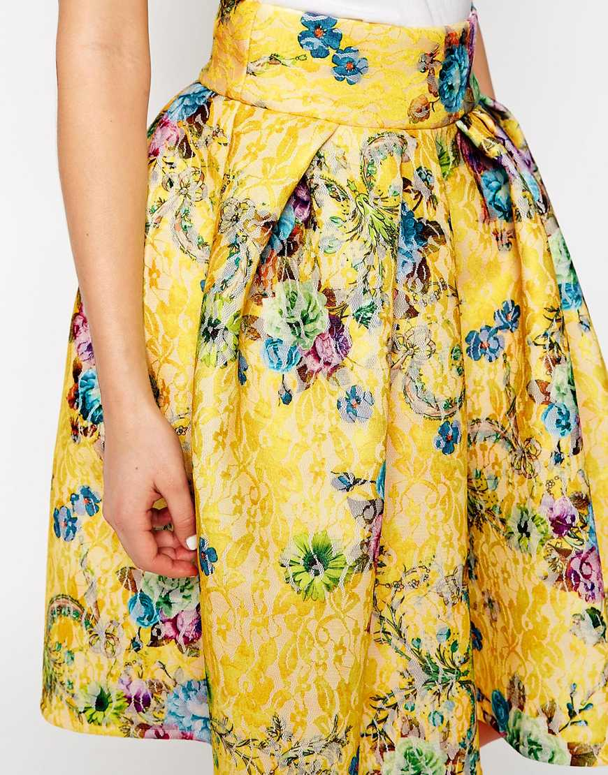 Asos premium bonded lace skirt in floral print at asos.com
