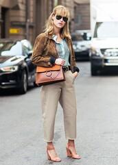 bag,chloe,chloe bag,tumblr,tumblr oufit,jacket,brown jacket,leather jacket,black sunglasses,suede jacket,striped shirt,shirt,shoulder bag